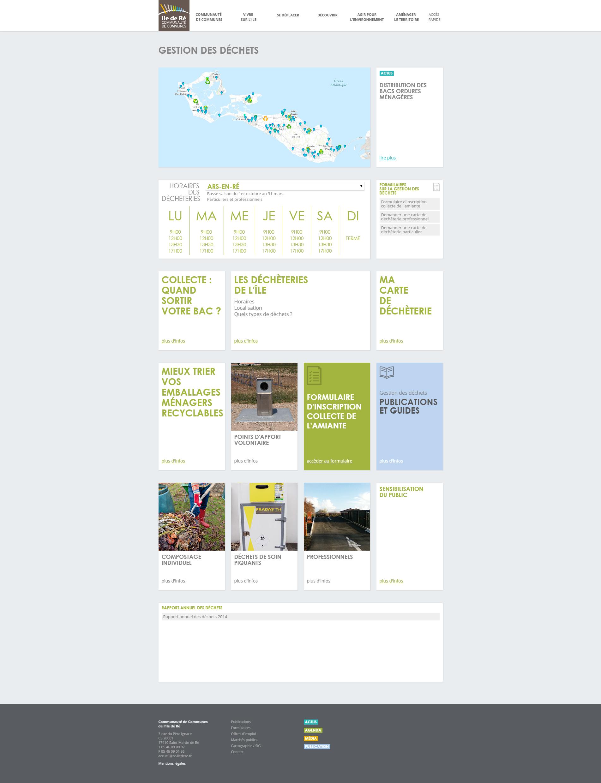 page gestion des déchets de cdciledere.fr