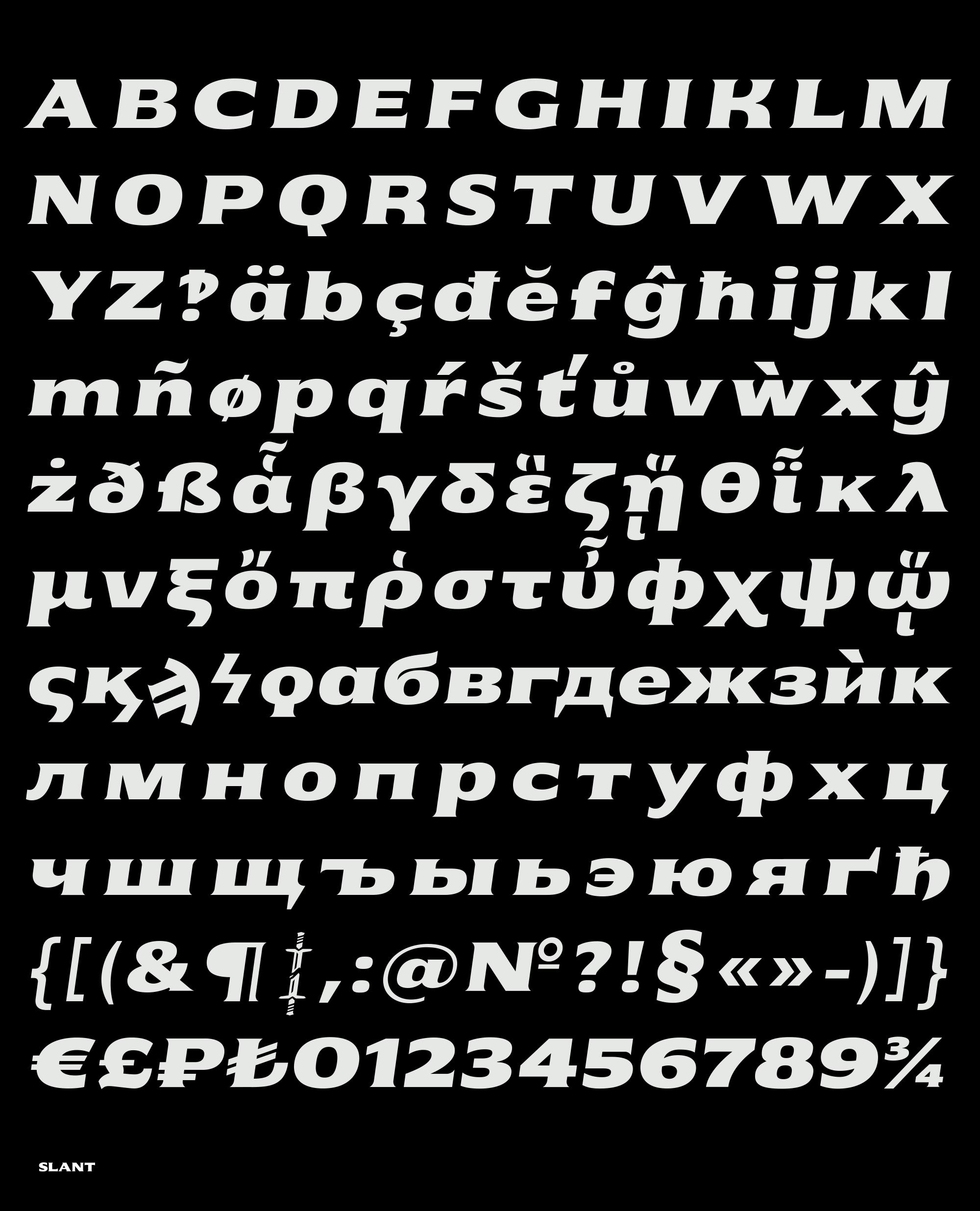 Alphabet slant