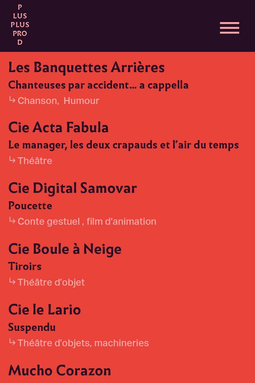 Design de la page Tous Les Artitespour smartphone du site de Plus Plus Prod