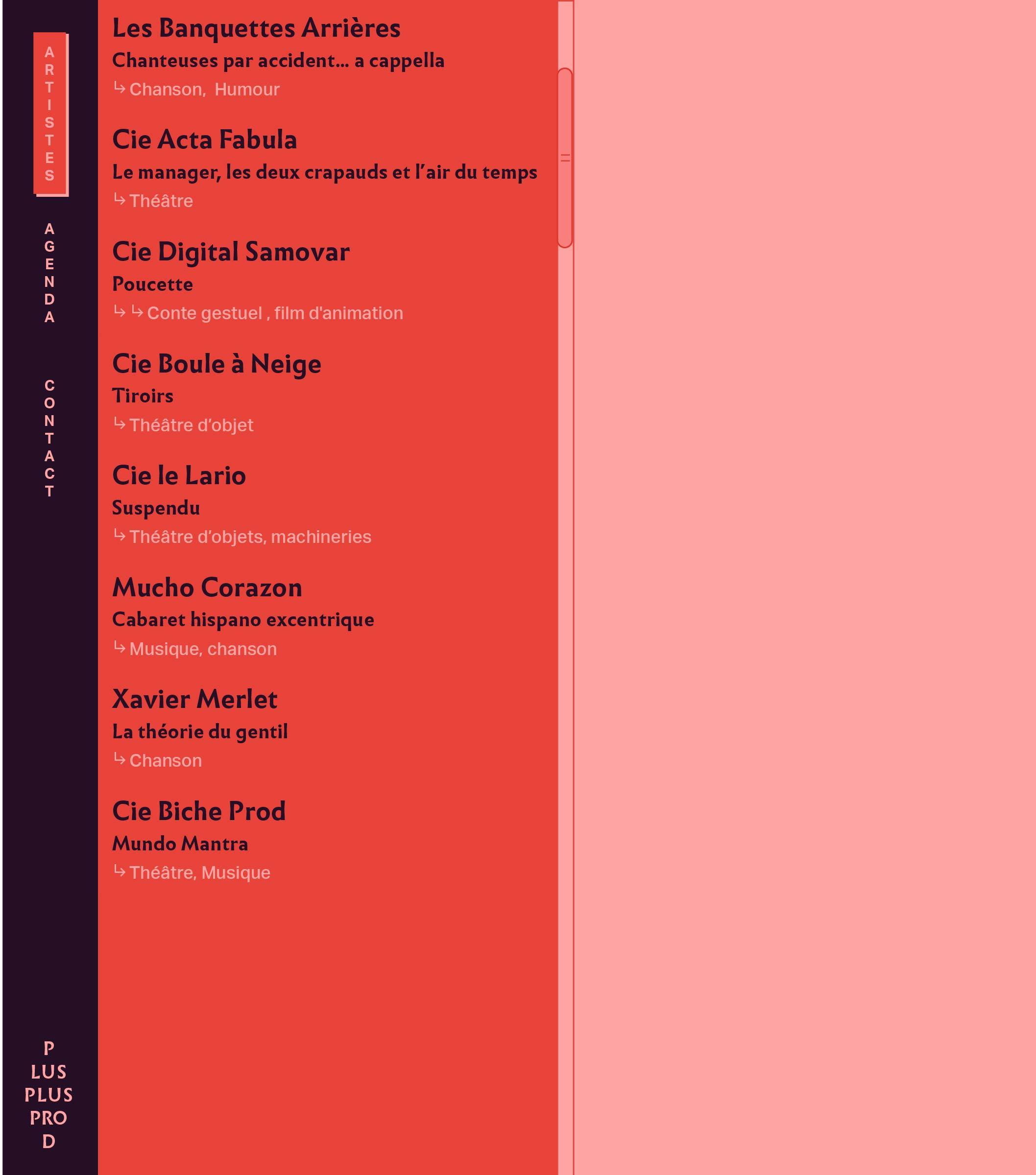 Design de la page Tous Les Artistes du site de Plus Plus Prod
