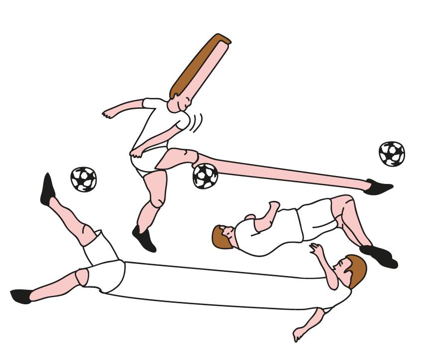 Illustration de joueurs de football déformé