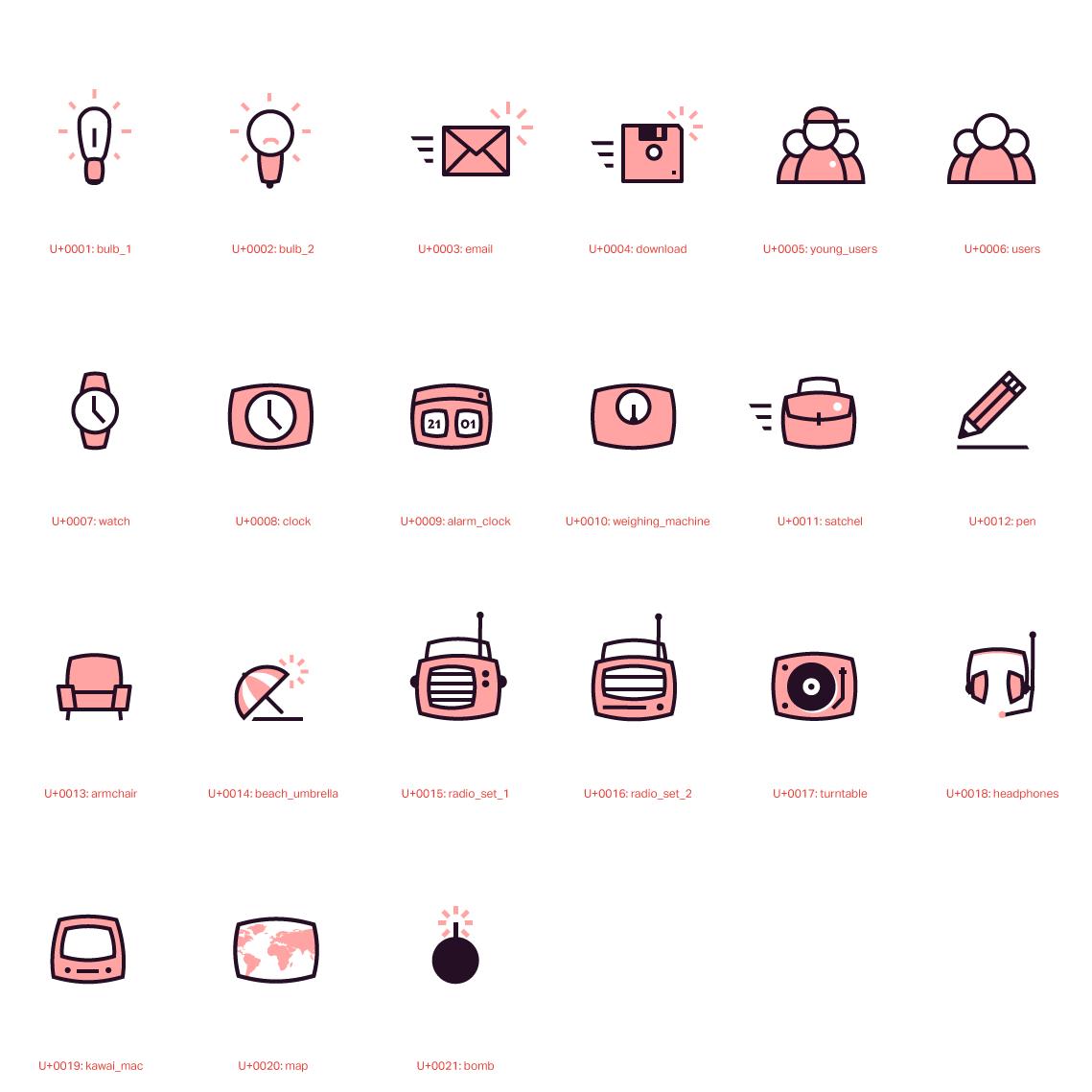 Assemble des icones dessinées spécialement pour le site de Plus Plus Prod