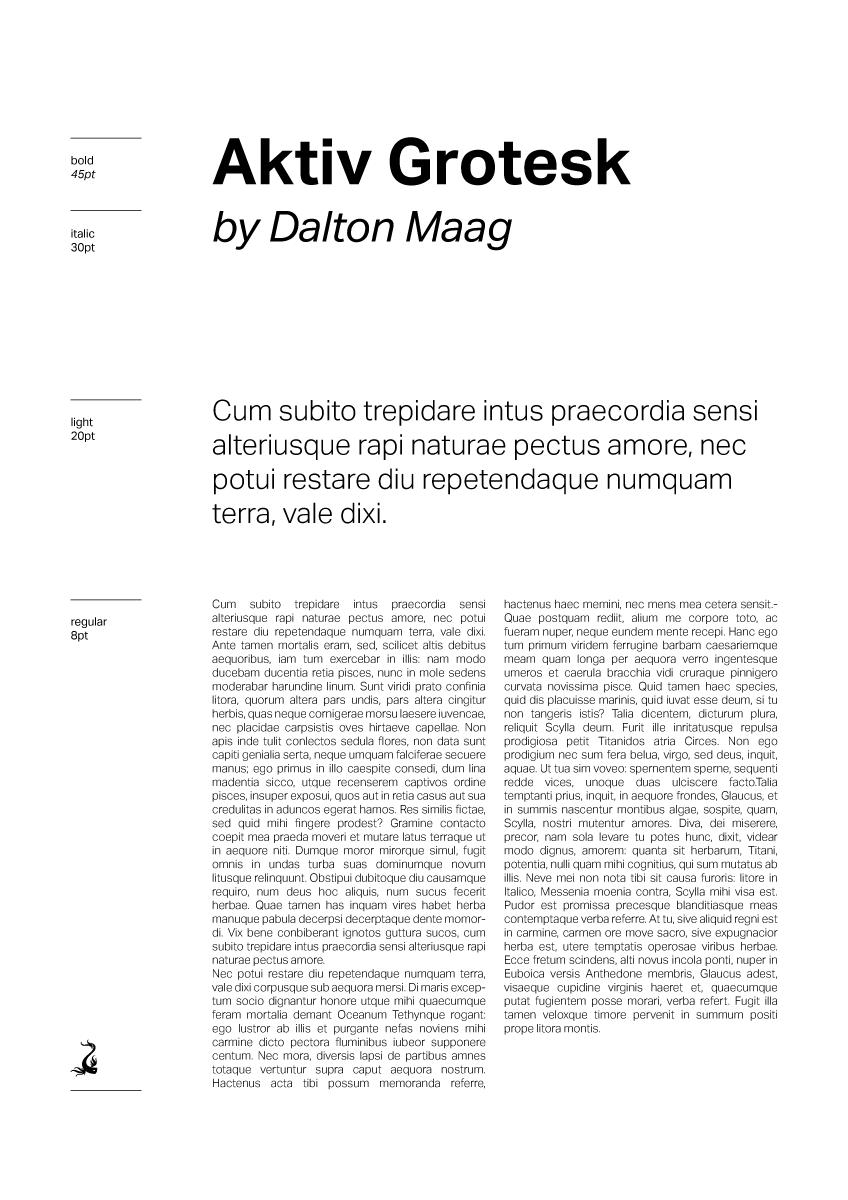 Document mise en page avec la police de caractère Aktiv Grotesk dessiné par Dalton Maag en 2010