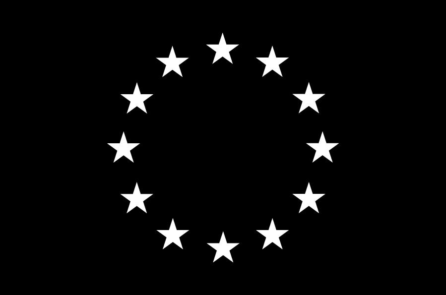 Drapeau de l'Union Européenne en noir et blanc