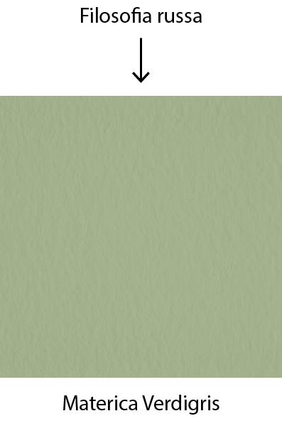 Le papier Materica Verdigris de Fedrigoni est utilisé pour la collection Filosofia Russa