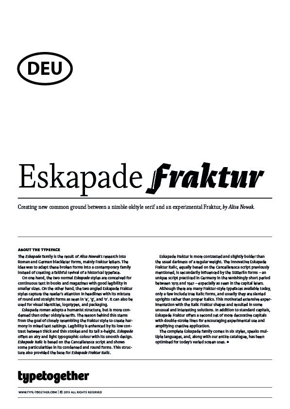 Extrait du spécimen typographique du caractère Eskapade dessiné par Typetogether