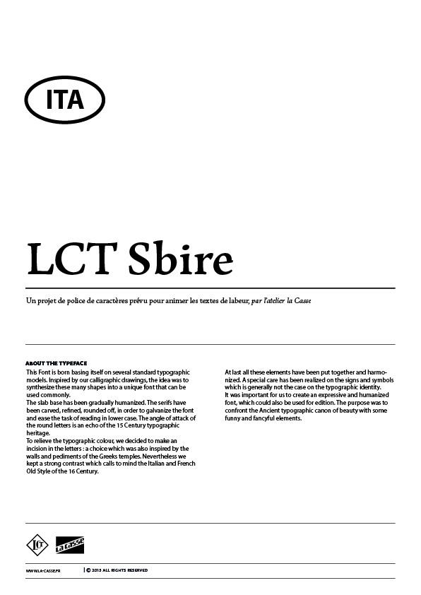 Extrait du spécimen typographique du caractère LCT Sbire dessiné par l'atelier la Casse