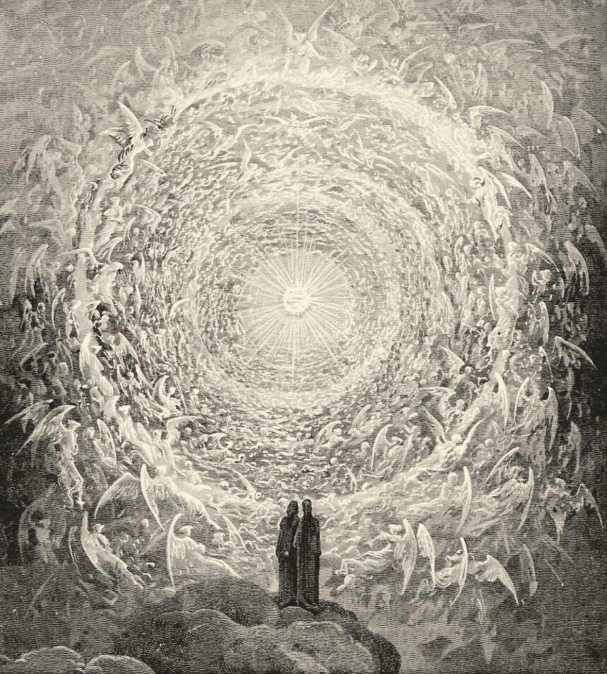 Gravure, Rosa celeste : Dante et Béatrice contemplant l'Empyrée, illustration de Gustave Doré