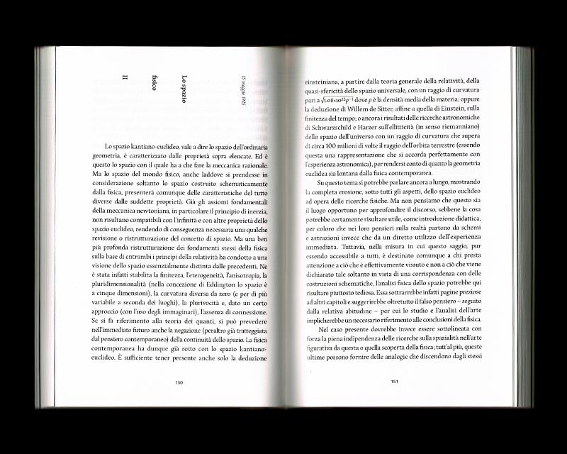 Page intérieur du Scritti sullo spazio, p150 - 151