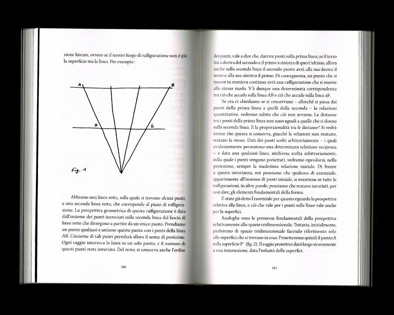 Page intérieur du Scritti sullo spazio, p180 - 181