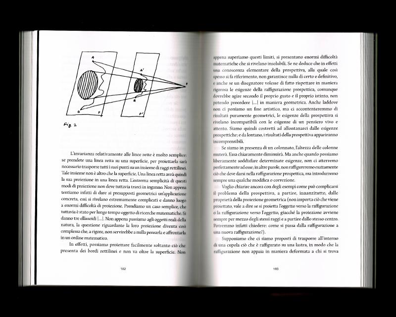 Page intérieur du Scritti sullo spazio, p182 - 183