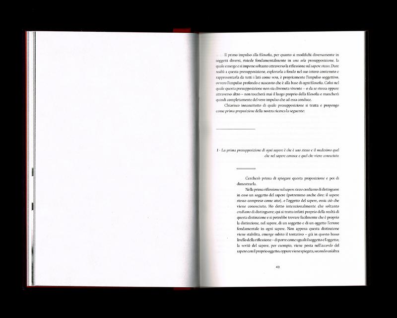 Scan des pages 42 & 43 du livre Sistema dell'intera filosofia, F.W.J. Schelling, 1804