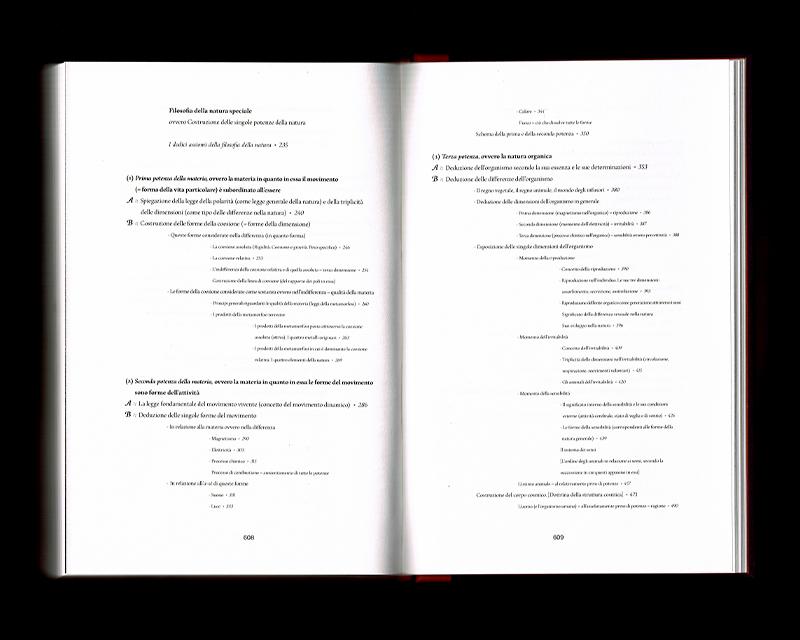 Scan des pages 608 & 609 du livre Sistema dell'intera filosofia, F.W.J. Schelling, 1804