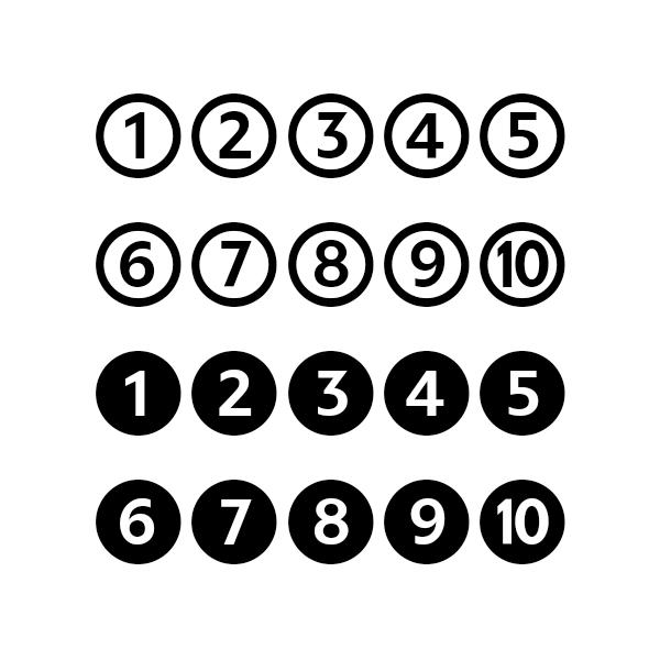 Le Forma6 est une font sans-serif possédant des chiffres cerclés dans sa table des gyphes