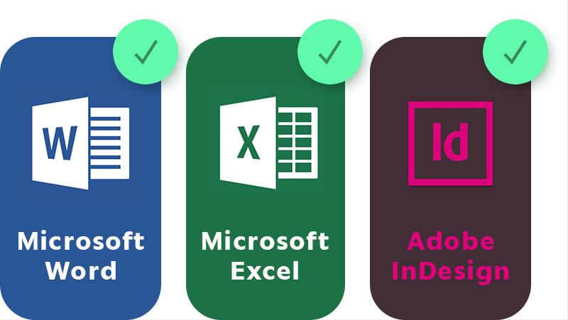 Les gabarits conçu pour forma6 sont conçu pour Microsoft Word, Microsoft Excel et Adobe InDesign