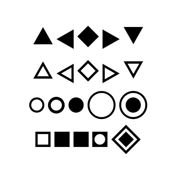 Toute la famille de caractère Forma6 contient des formes décoratives