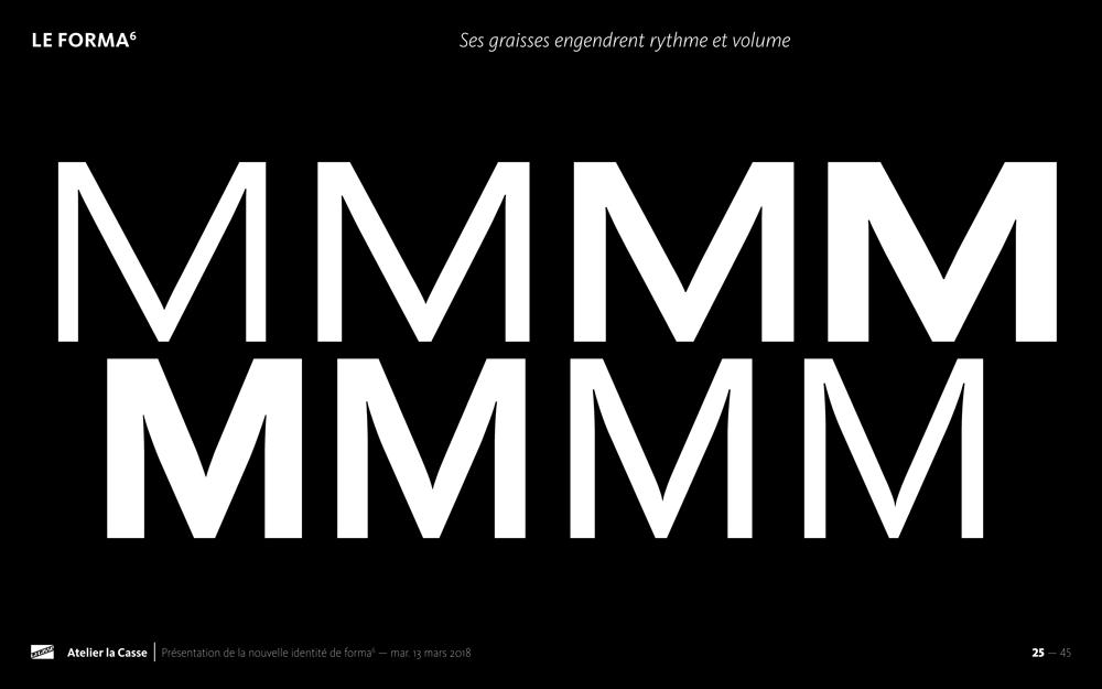 La font Forma6 est composée de 8 graisses et 2 chasses