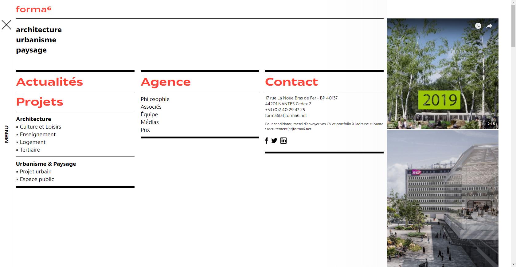 Capture d'écran d'une page web du site de forma6 avec le menu ouvert