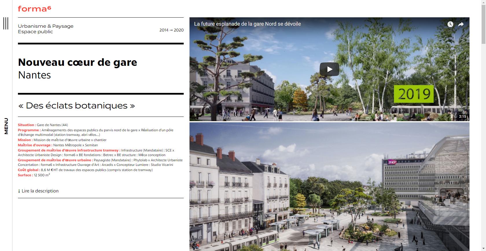 Extrait d'une page web du site de Forma 6 consacrée à un projet d'architecture Nantais