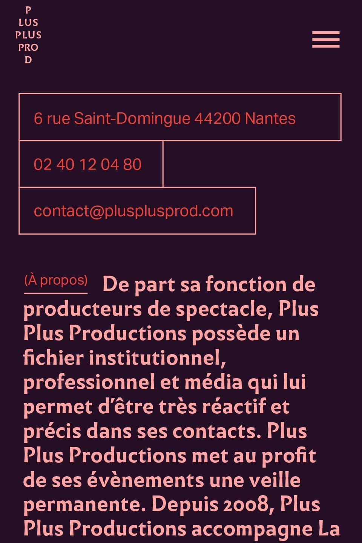 Design de la page À Propos du site de Plus Plus Prod