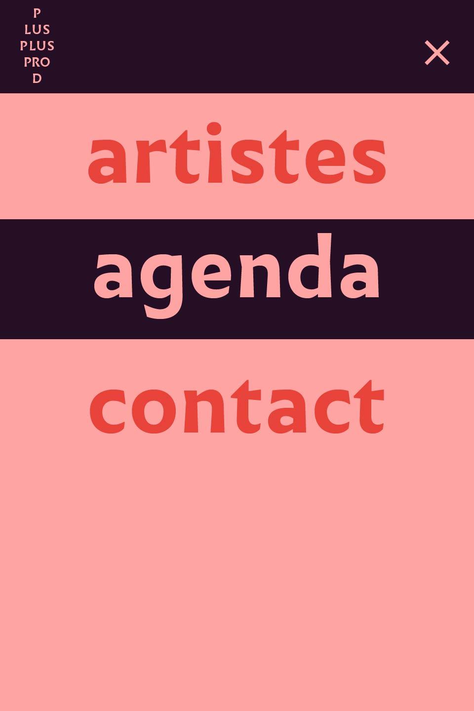 Design du menu pour smartphone du site de Plus Plus Prod