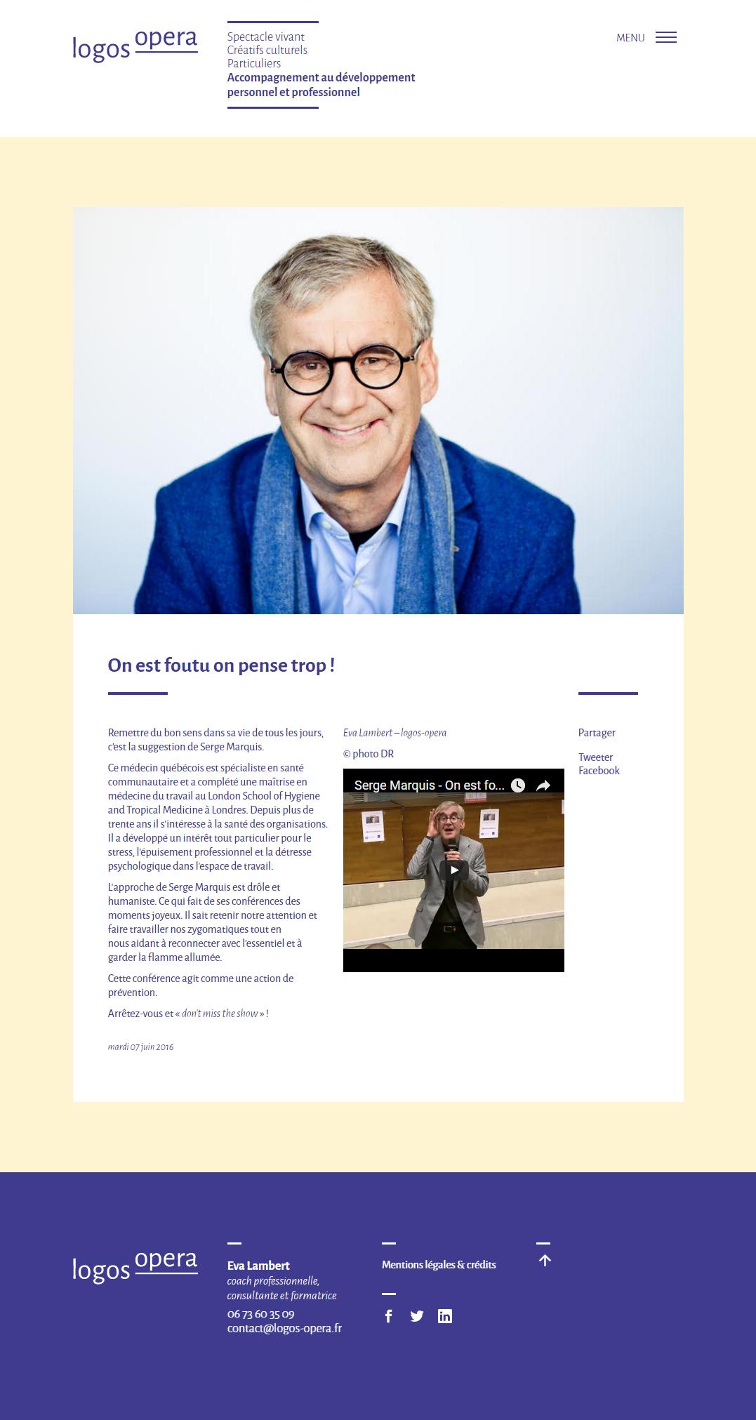 Page Article du site logos-opera.fr