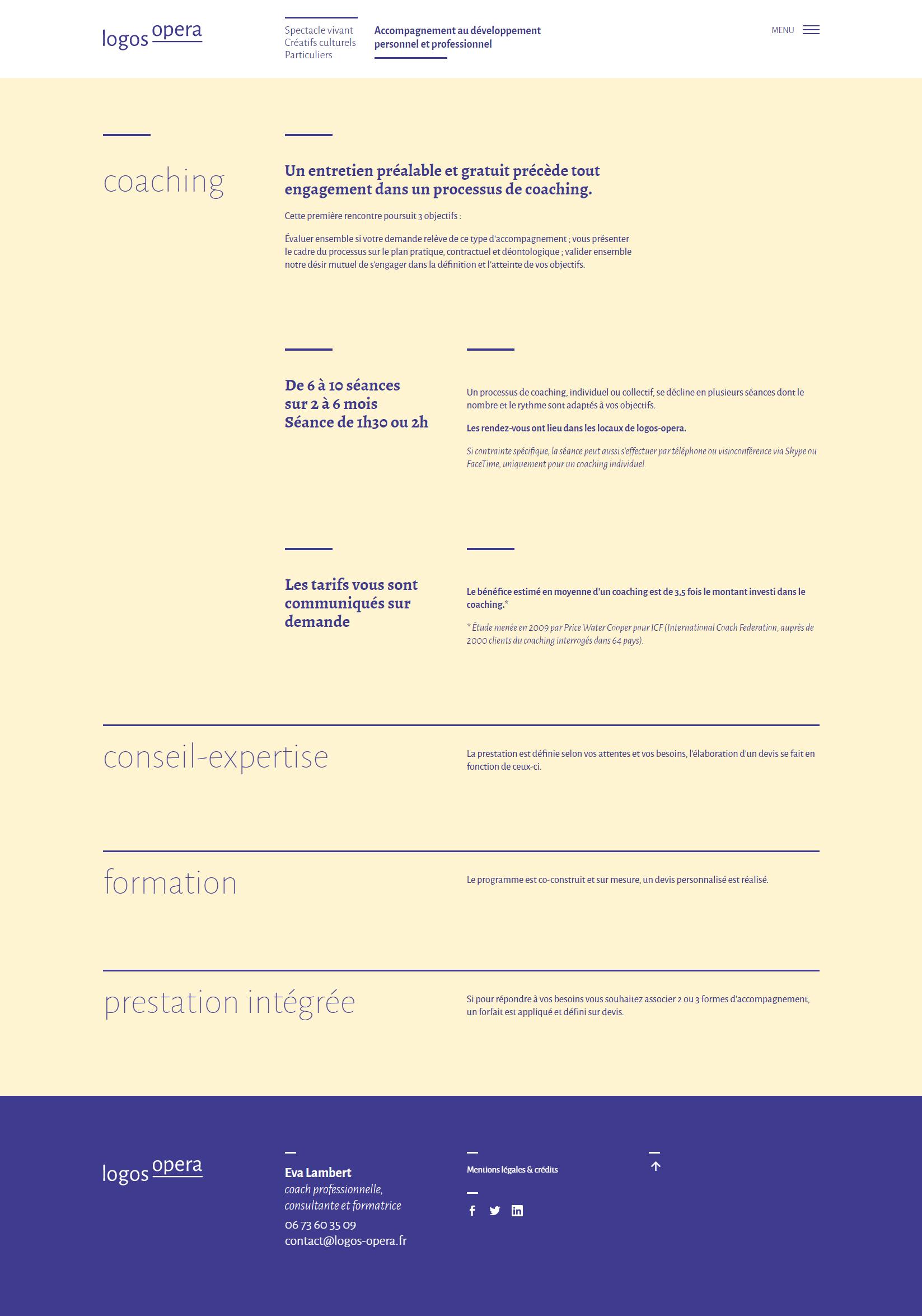 Page Mettre En Œuvre du site logos-opera.fr