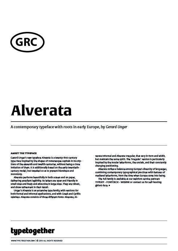 Extrait du spécimen typographique du caractère Alverata dessiné par Typetogether