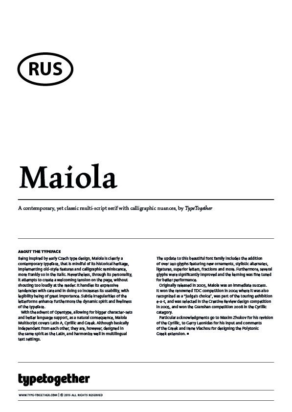 Extrait du spécimen typographique du caractère Maiola dessiné par Typetogether